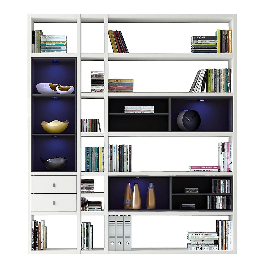 Regalwand Emporior III.A – Schwarz – Hochglanz Weiß Mit Beleuchtung, loftscape bestellen