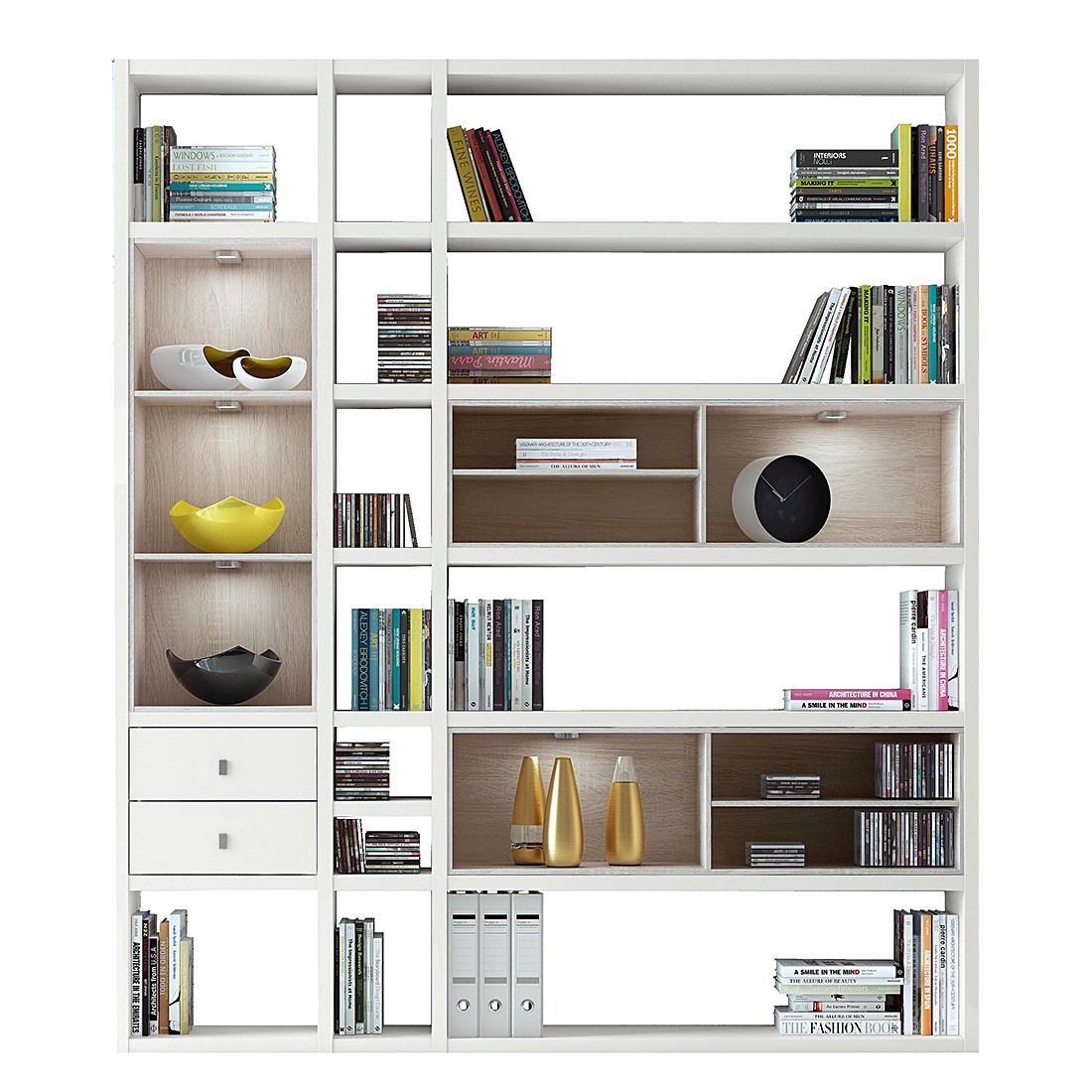 Regalwand Emporior III.A – Sonoma Eiche Dekor – Hochglanz Weiß Mit Beleuchtung, loftscape online kaufen