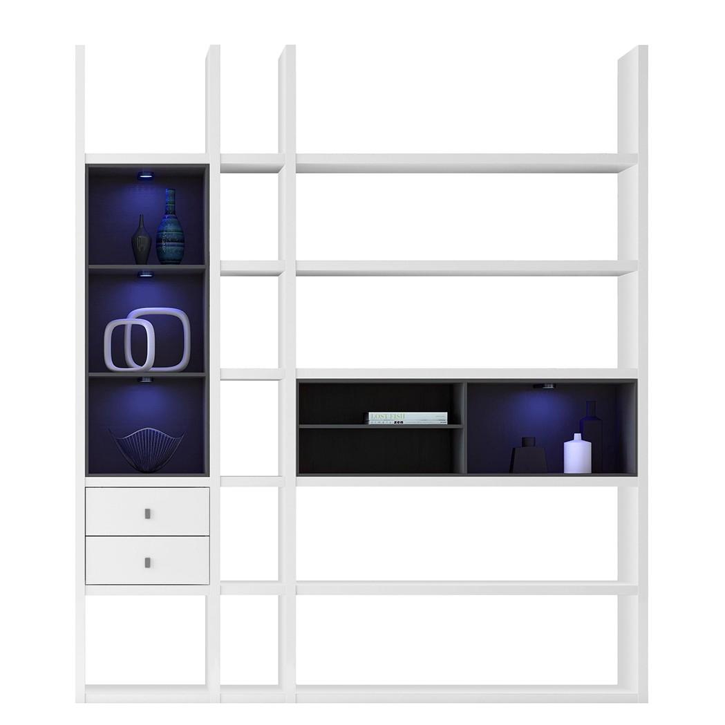 Regalwand Emporior III.B – Schwarz – Matt Weiß Mit Beleuchtung, loftscape jetzt bestellen