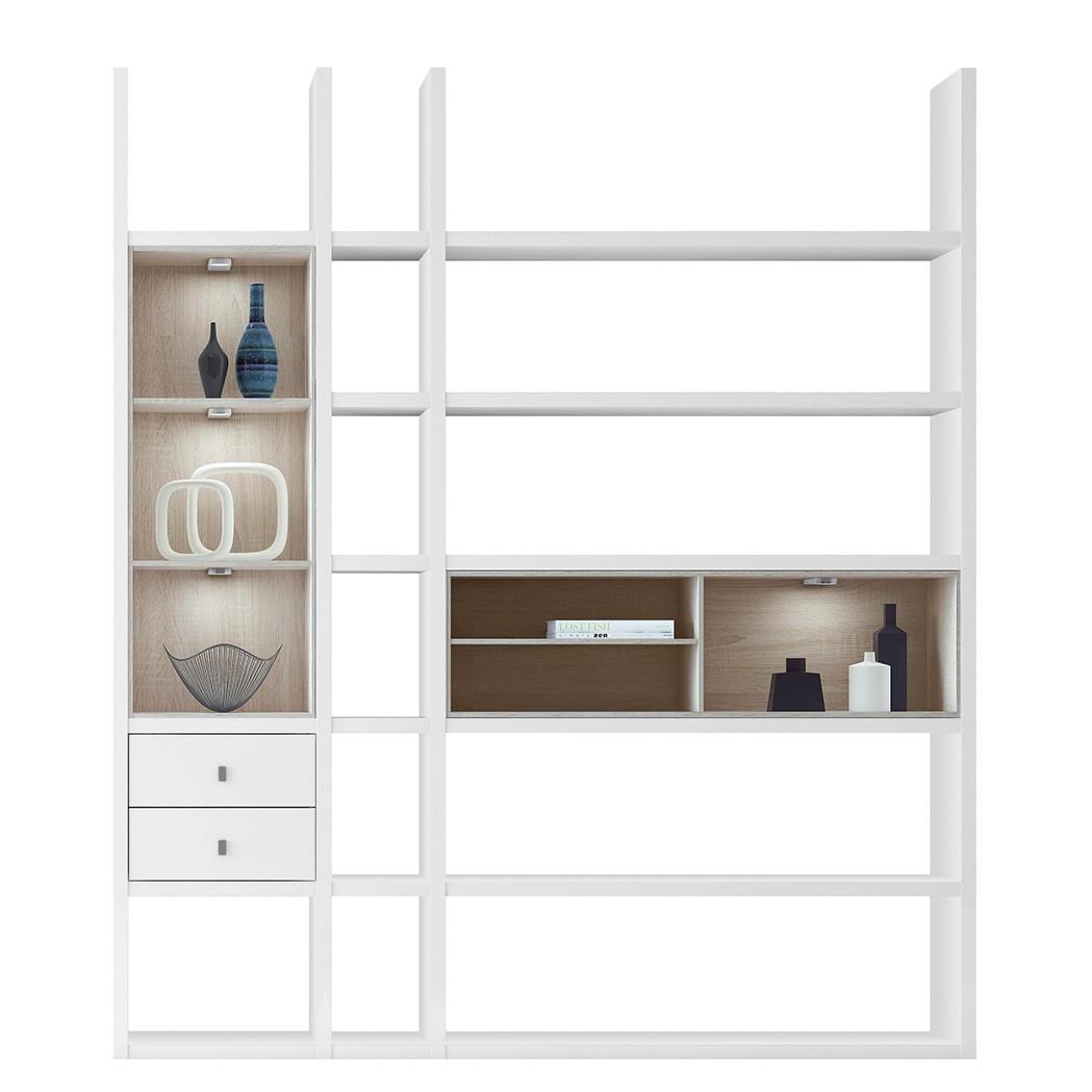 regalwand emporior iii b sonoma eiche dekor hochglanz wei mit beleuchtung loftscape. Black Bedroom Furniture Sets. Home Design Ideas