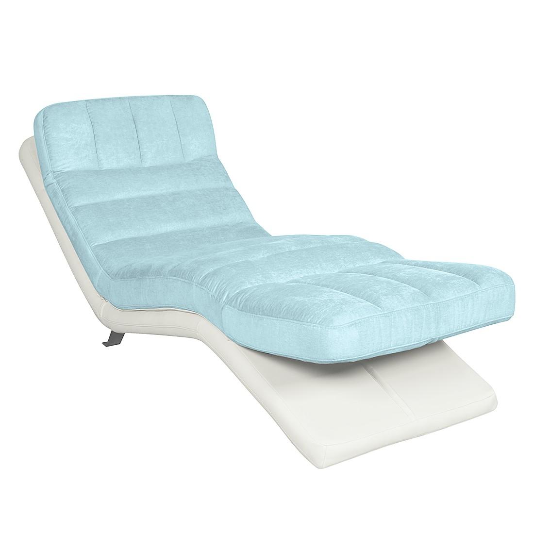 Relaxfauteuil Vascan - kunstleer/geweven stof grijs - Wit/lichtblauw, Cotta