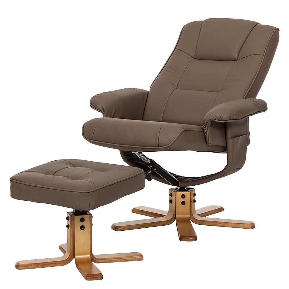 relax sessel mit hocker leder armsessel ohrensessel. Black Bedroom Furniture Sets. Home Design Ideas