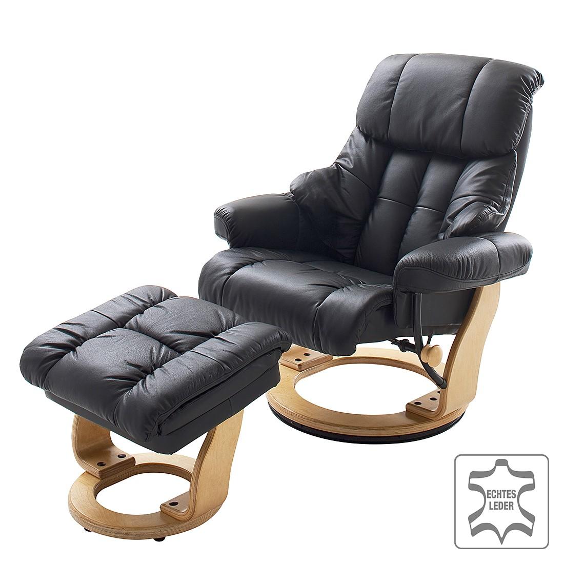 relaxsessel grunewald mit hocker echtleder schwarz ebay. Black Bedroom Furniture Sets. Home Design Ideas