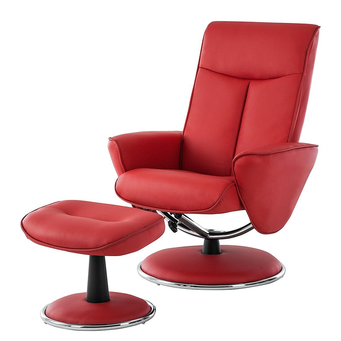 Relaxsessel Kenzo (mit Hocker) – Kunstleder Rot, Nuovoform online bestellen