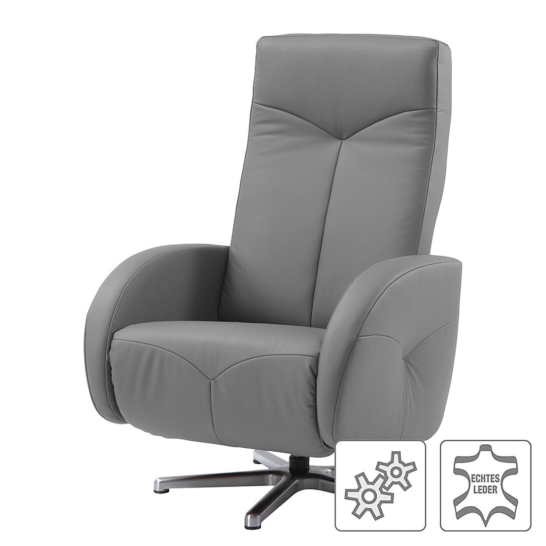 Relaxsessel Millard – Echtleder – Einmotorige Verstellung – Grau, Nuovoform günstig kaufen