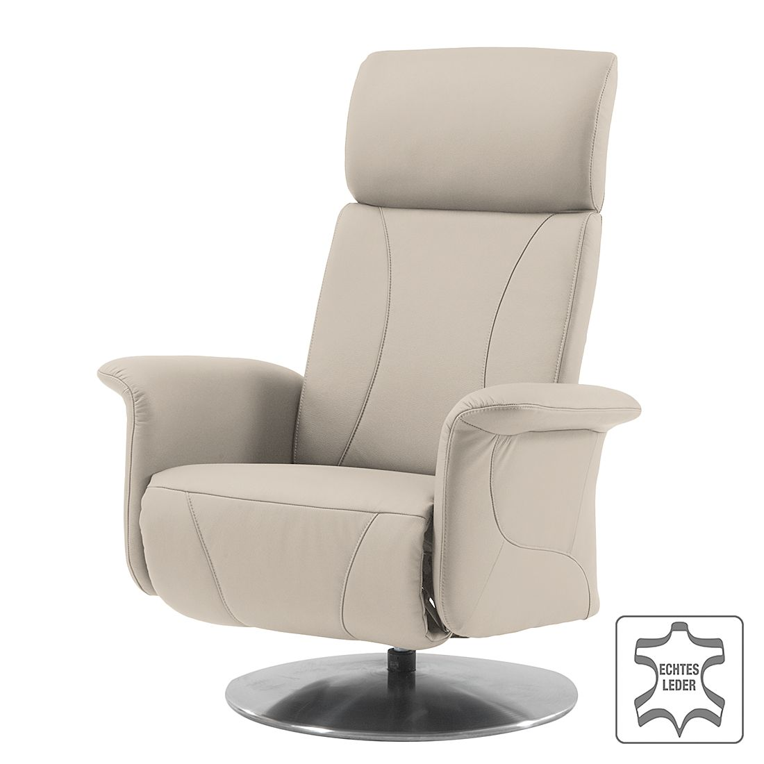 Relaxsessel Sherwin – Echtleder – Mechanische Verstellung – Beige, Nuovoform online kaufen