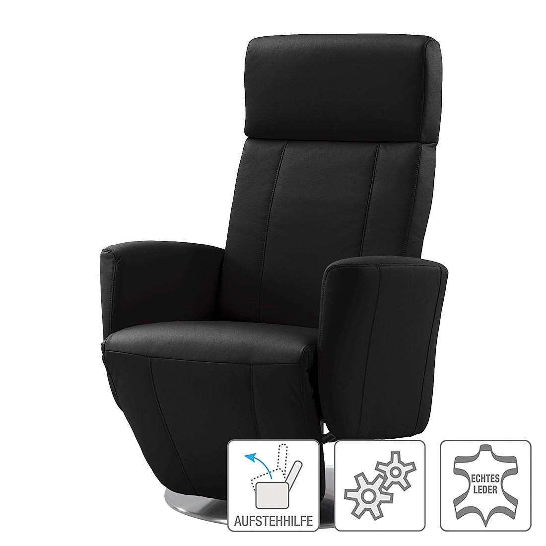 Relaxsessel Tatum – Echtleder – Einmotorige Verstellung mit Aufstehhilfe – Schwarz, Nuovoform günstig kaufen