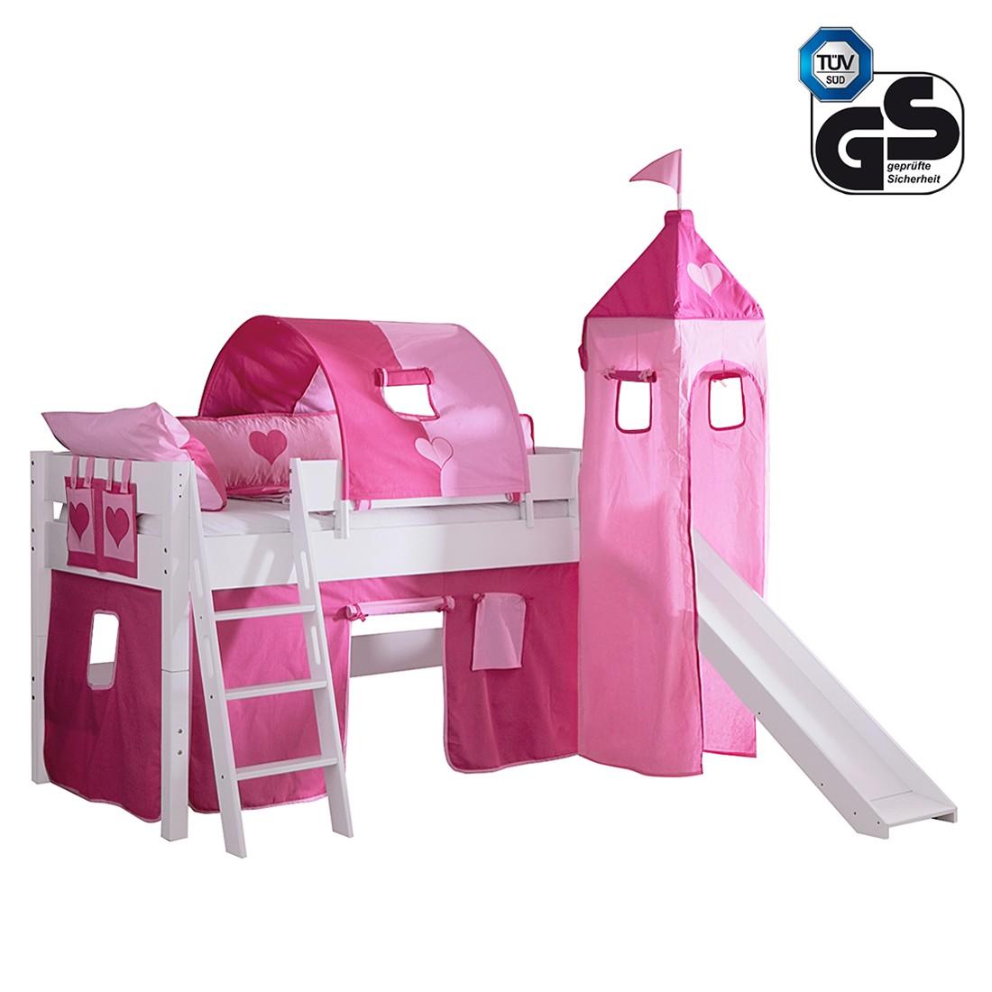 Halbhohes Spielbett Kim – Buche massiv/Weiß – Textilset Pink/Rosa/Herz, Relita jetzt kaufen