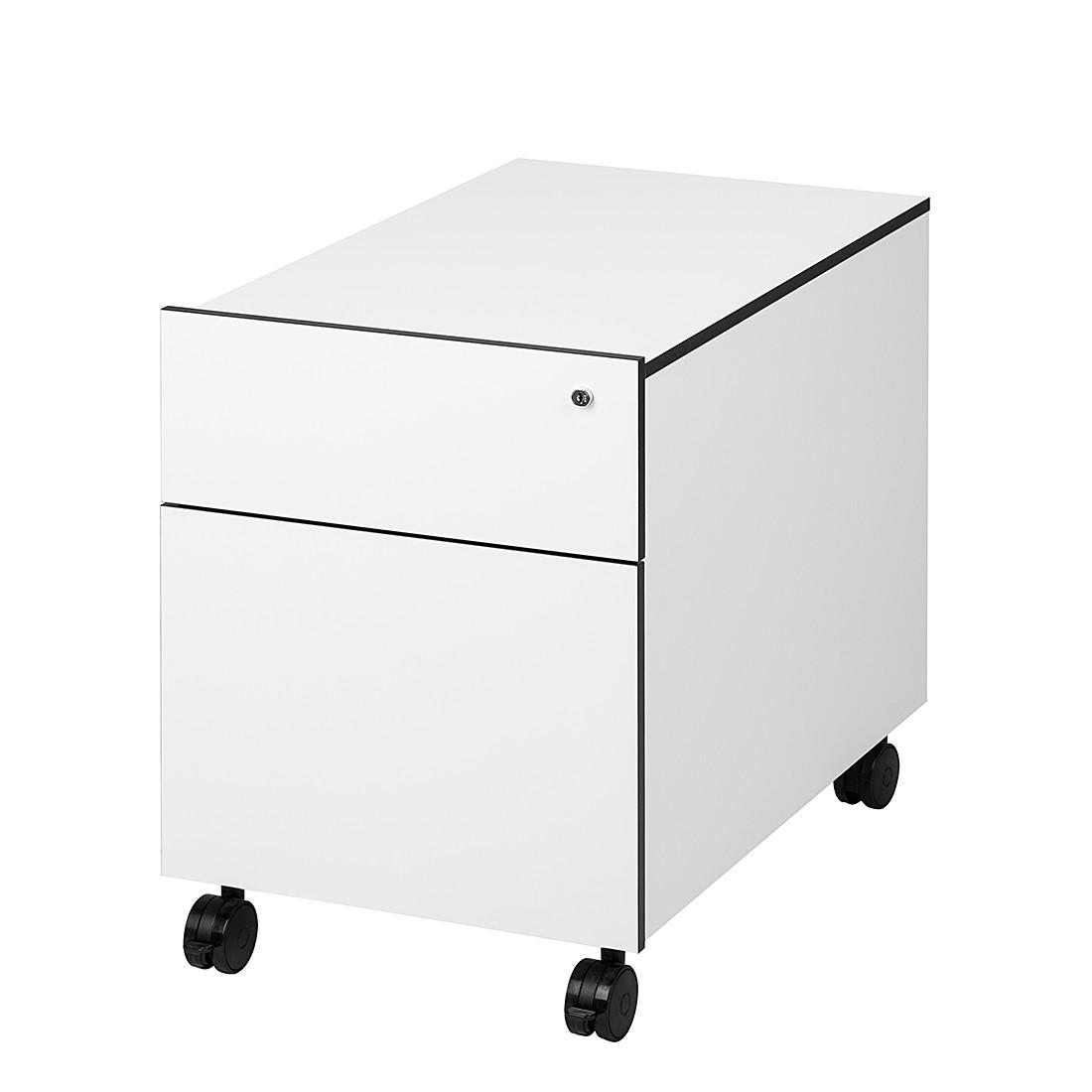 Rollcontainer Bianconero - mit 2 Schubladen - weiß mit schwarzen Kanten