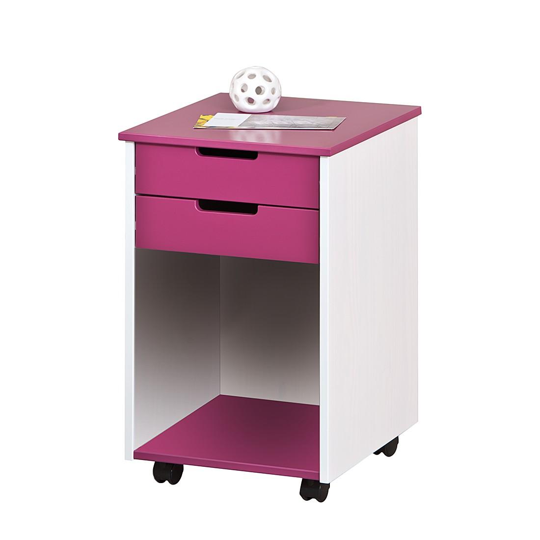 Rollcontainer Magentina - Kiefer teilmassiv - Weiß/Pink