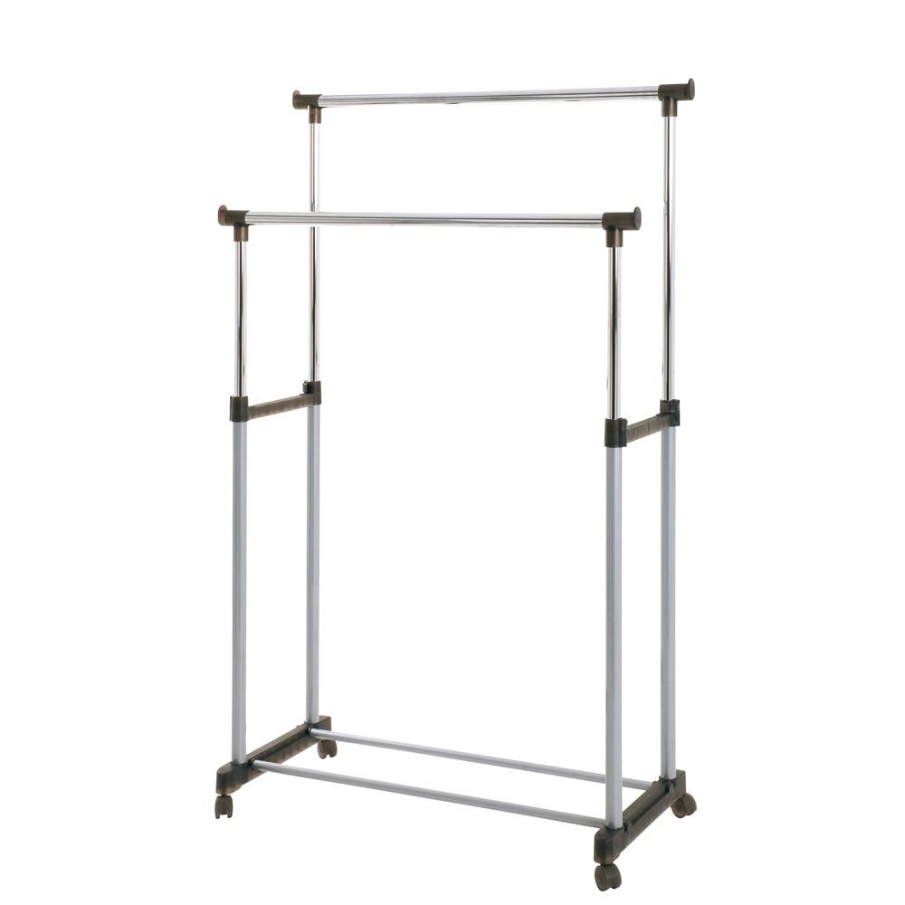 Rollgarderobe Aronia - Metall/Kunststoff - Alufarbig & Verchromt/Schwarz