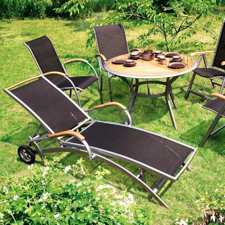 Gartenliege Siena - Aluminium/Kunstfasergewebe - Silber/Schwarz, Merxx