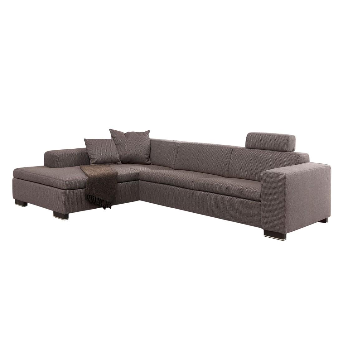 Ecksofa Roubaix – Webstoff Braun – Longchair davorstehend rechts – mit Vorziehbank, Home Design kaufen