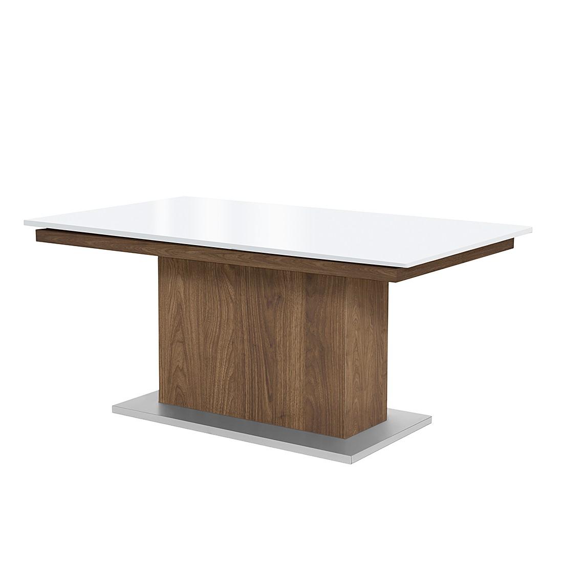 Säulentisch Deck (ausziehbar) – Terra Walnuss Dekor/Hochglanz Weiß – 190 x 75 cm, Arte M online kaufen