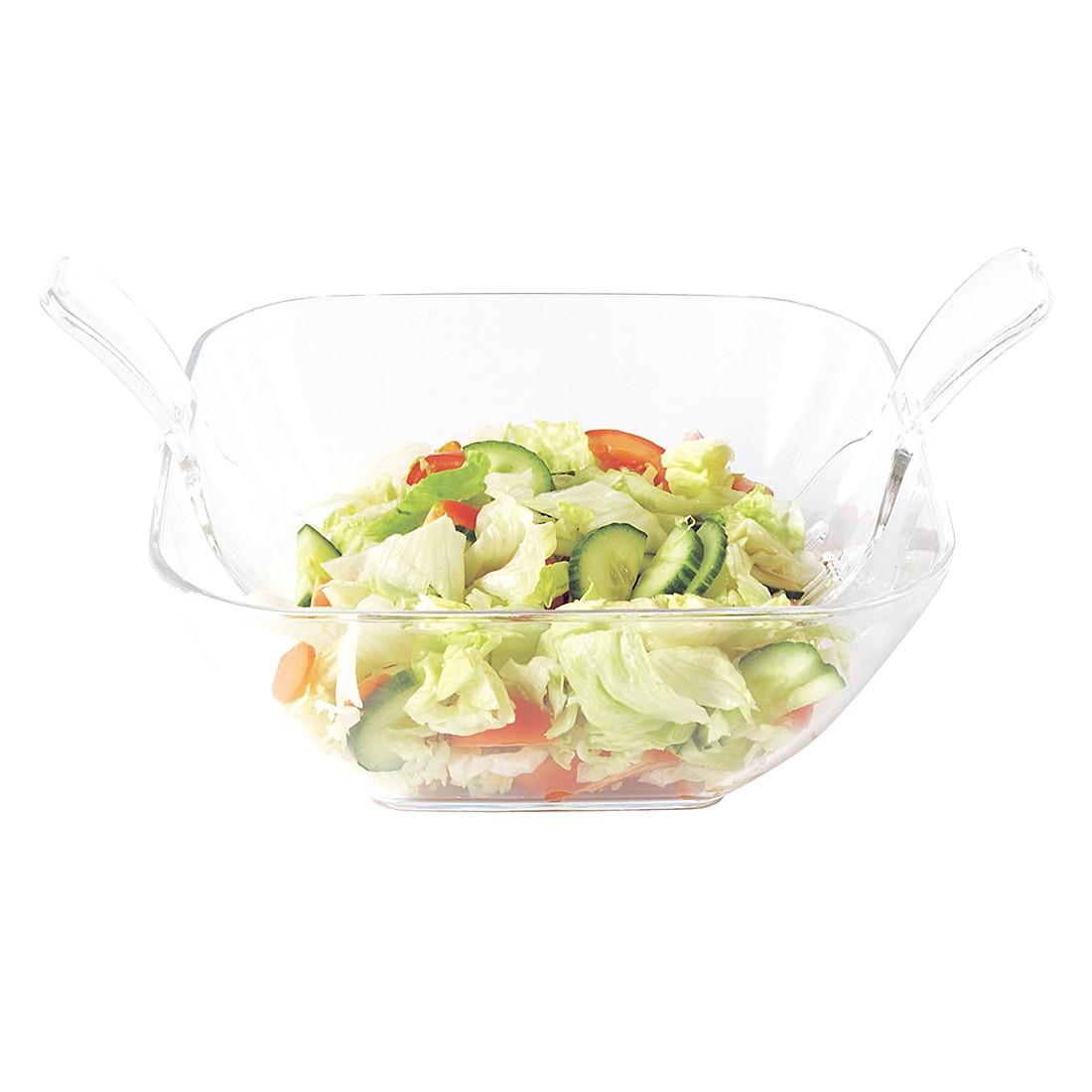 Salatschüssel (mit Besteck) – Melamin transparent, Present Time kaufen