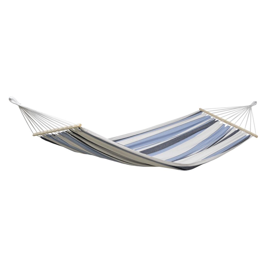 Stabhängematte Samba marine - Baumwolle Streifen Blau/Weiß/Schwarz, Amazonas