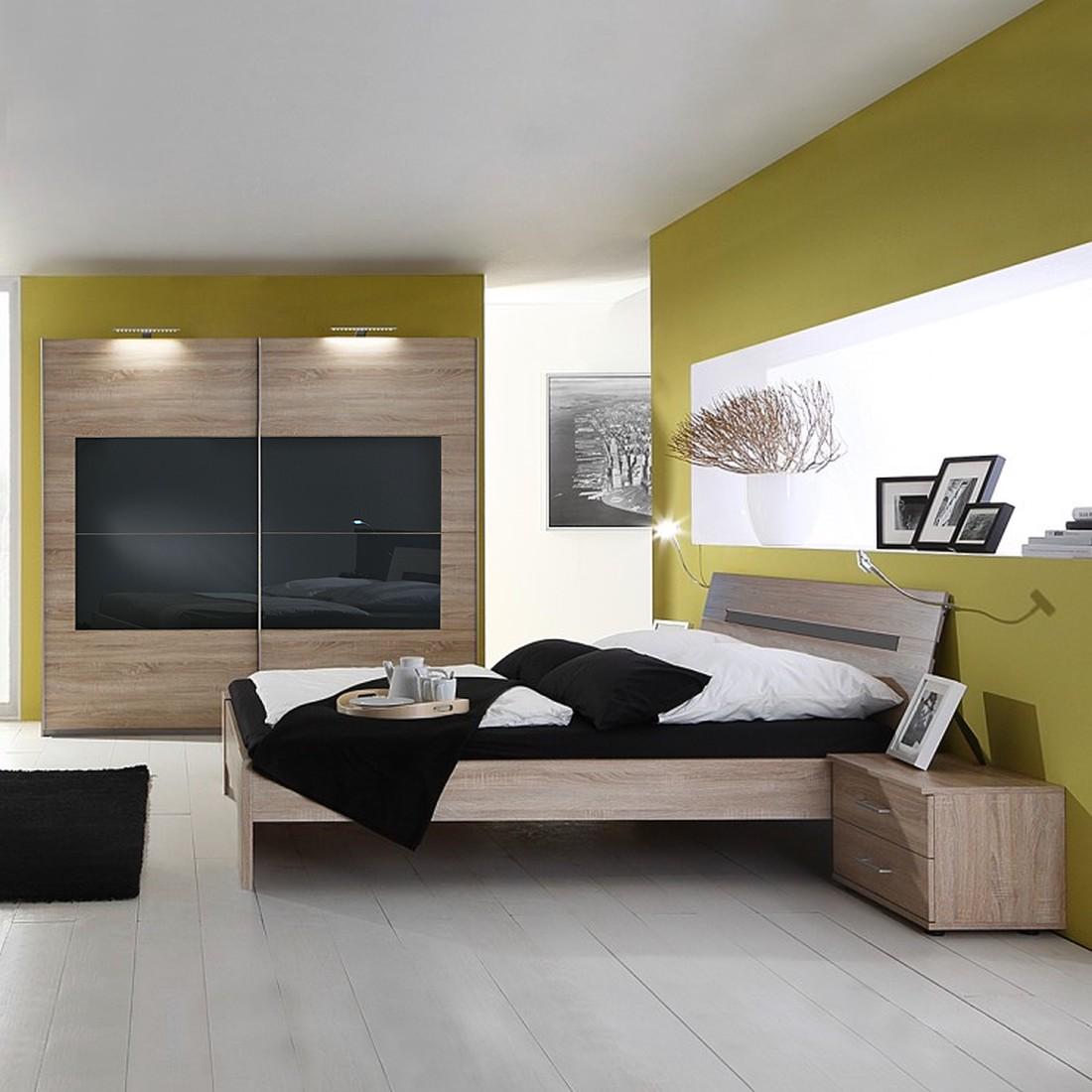 Sanary Schlafzimmer-Set - Eiche Sägerau - Glas Weiß, OAKland's günstig kaufen