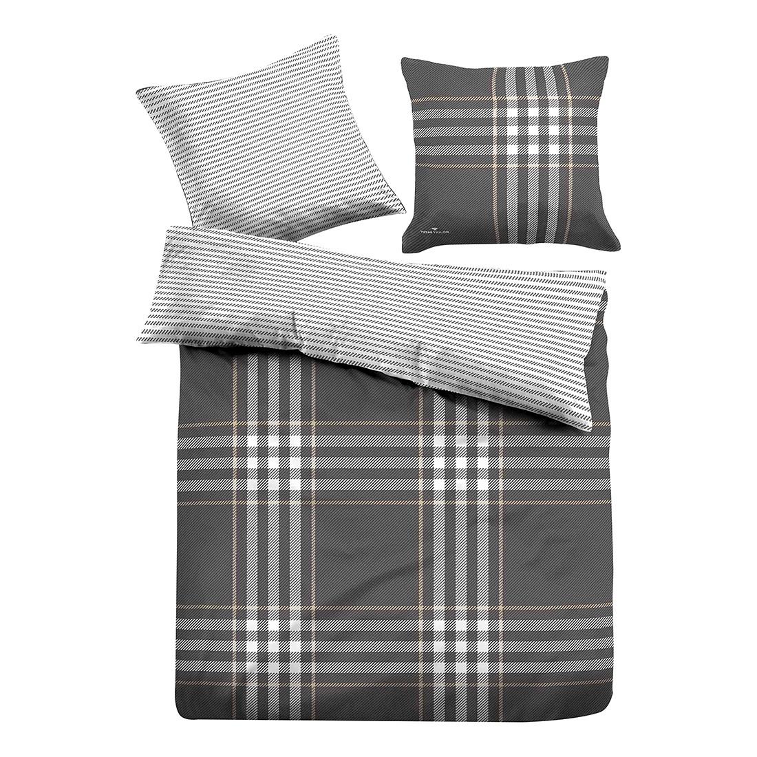 Satin Bettwäsche Home Classics II - Grau / Weiß - 135 x 200 cm + Kissen 80 x 80 cm, Tom Tailor