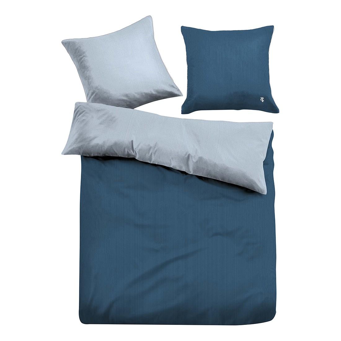 Satin Bettwäsche Uni – Dunkelblau – 155 x 220 cm + Kissen 80 x 80 cm, Tom Tailor jetzt kaufen