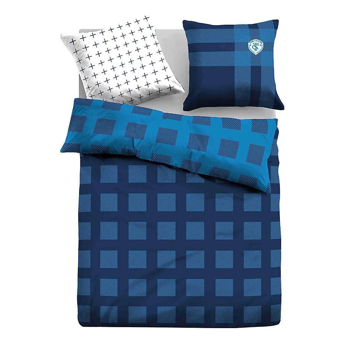 Satin Bettwäsche Gitter – Hellblau / Dunkelblau – 155 x 220 cm + Kissen 80 x 80 cm, Tom Tailor günstig kaufen