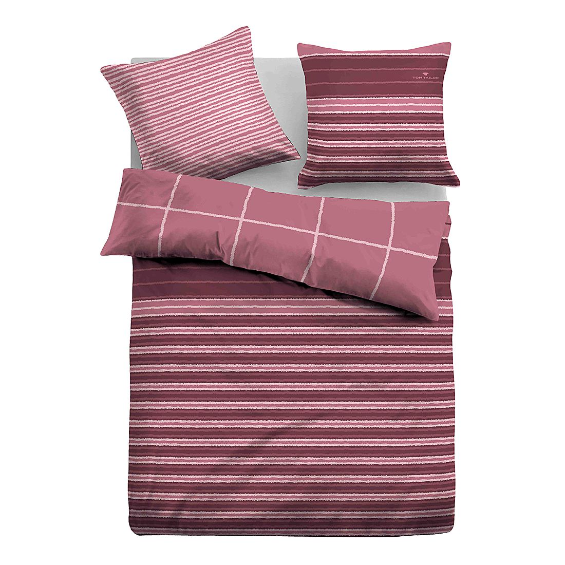 Satin Bettwäsche Linien – Rosa / Bordeaux – 155 x 200 cm + Kissen 80 x 80 cm, Tom Tailor jetzt bestellen