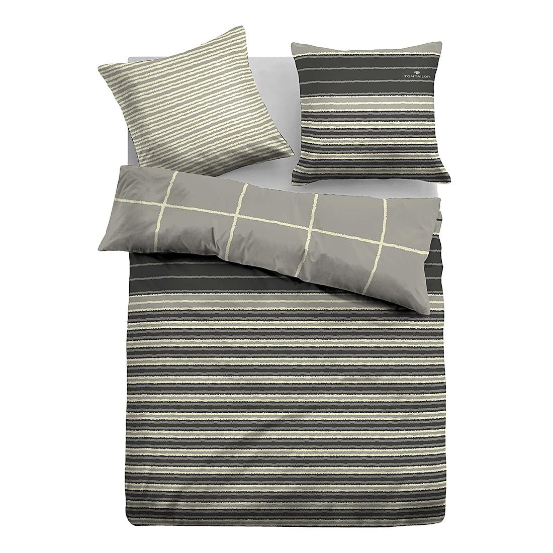 Satin Bettwäsche Linien – Grau / Gelb – 200 x 200 cm + 2 Kissen 80 x 80 cm, Tom Tailor jetzt bestellen