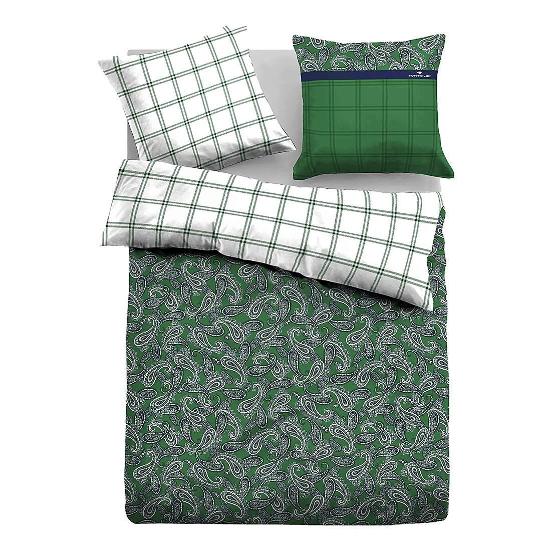Satin Bettwäsche Paisley - Grün - 135 x 200 cm + Kissen 80 x 80 cm, Tom Tailor