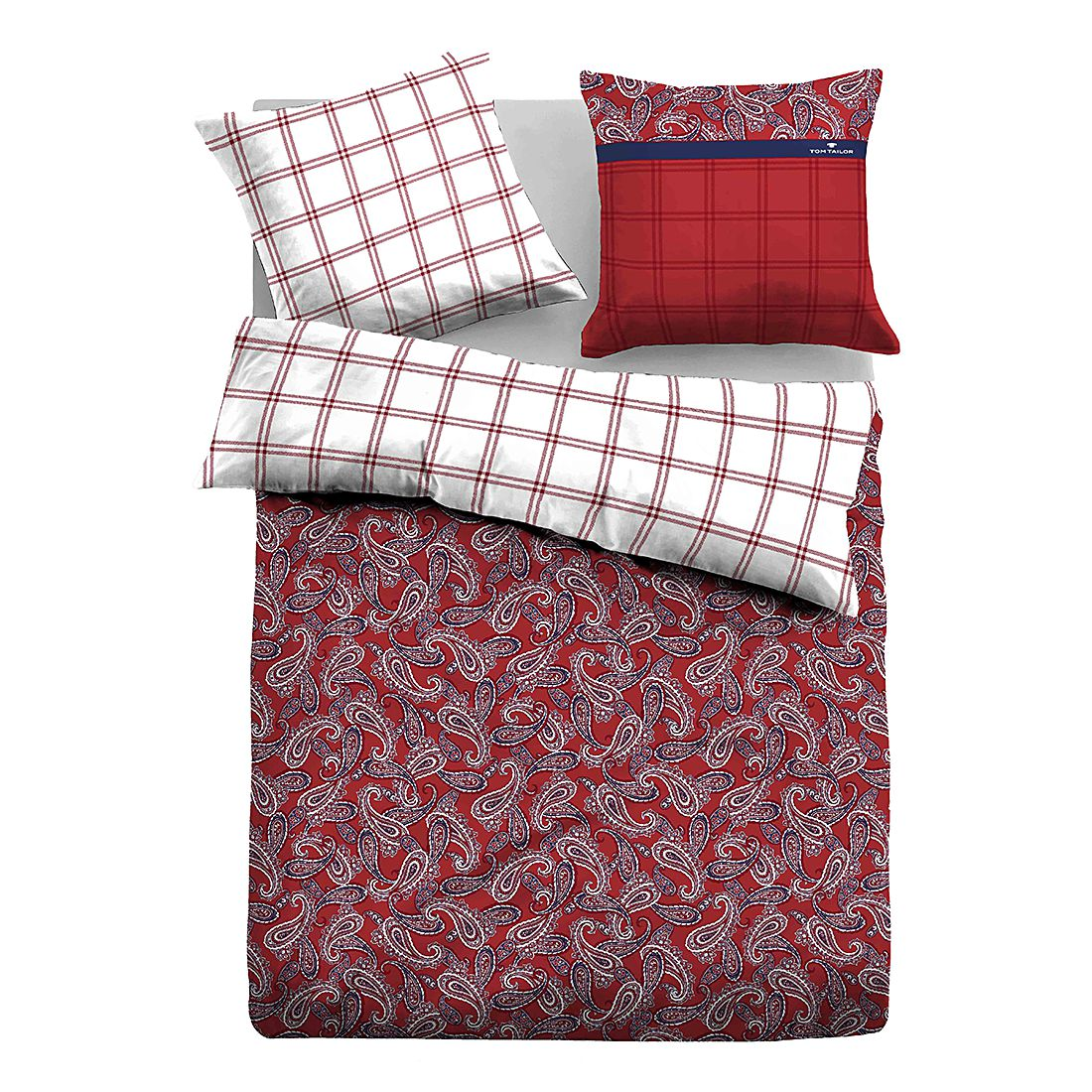 Satin Bettwäsche Paisley – Rot – 135 x 200 cm + Kissen 80 x 80 cm, Tom Tailor kaufen
