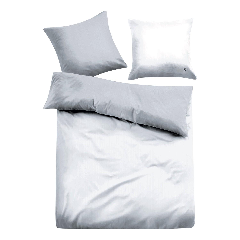 Satin Bettwäsche Paris - Grau / Weiß - 200 x 220 cm + 2 Kissen 80 x 80 cm, Tom Tailor