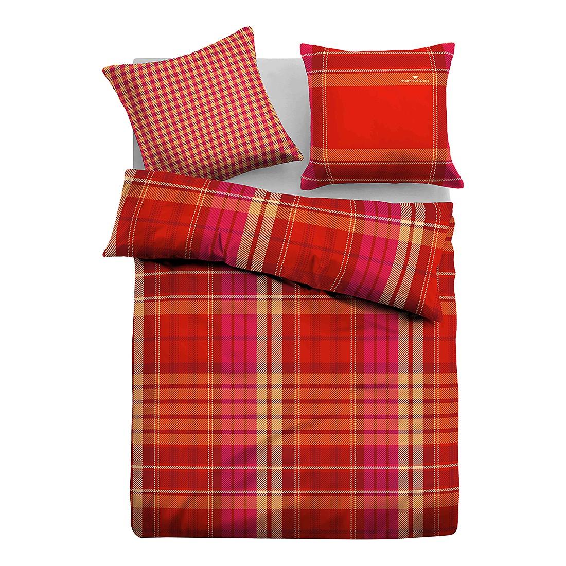 Satin Bettwäsche Quader – Rot / Gelb – 135 x 200 cm + Kissen 80 x 80 cm, Tom Tailor günstig online kaufen