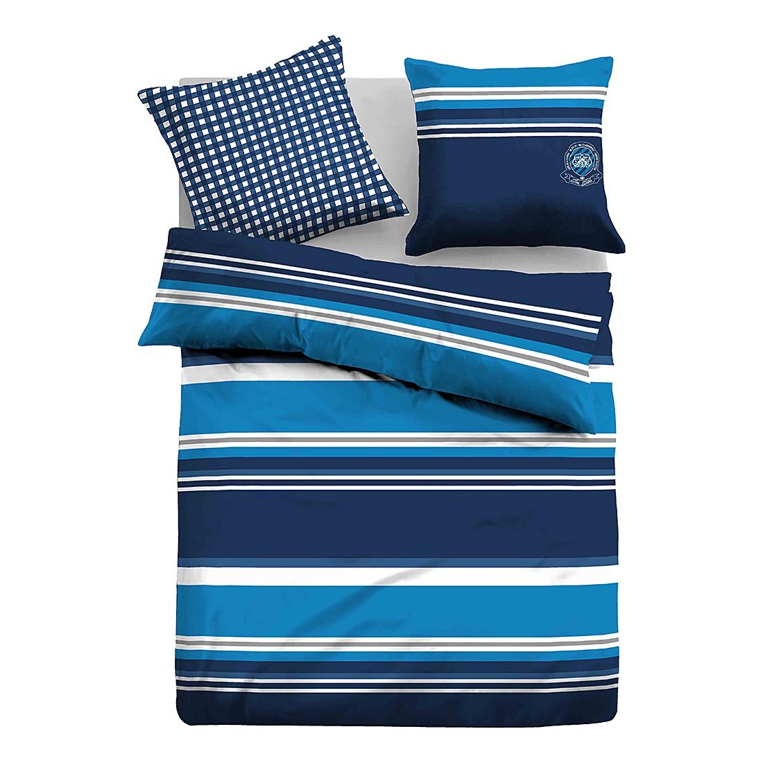 Satin Bettwäsche Querstreifen – Hellblau / Dunkelblau – 155 x 220 cm + Kissen 80 x 80 cm, Tom Tailor günstig