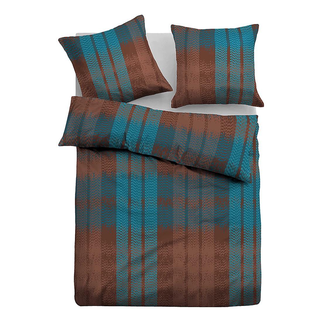 Satin Bettwäsche Streifen – Braun / Türkis – 155 x 220 cm + Kissen 80 x 80 cm, Tom Tailor jetzt kaufen