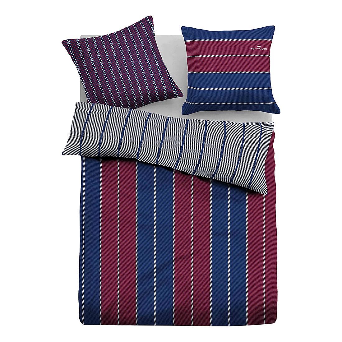 Satin Bettwäsche Stripes – Rot / Blau – 135 x 200 cm + Kissen 80 x 80 cm, Tom Tailor günstig bestellen