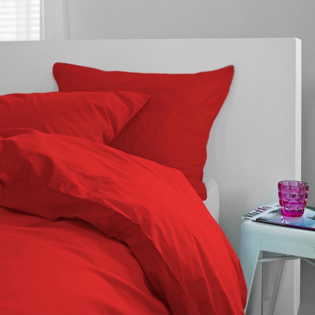 Satinbettwäsche Liguria rot – 100% Baumwolle Rot – Ausführung 155×220 cm + 80×80 cm, Essenza jetzt kaufen