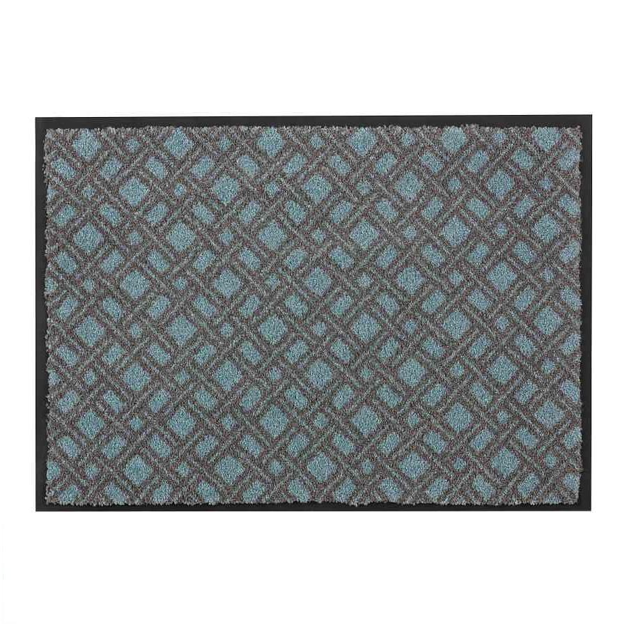 Fußmatte Broadway - Karo/Türkis - 70 x 110 cm, Schöner Wohnen Kollektion