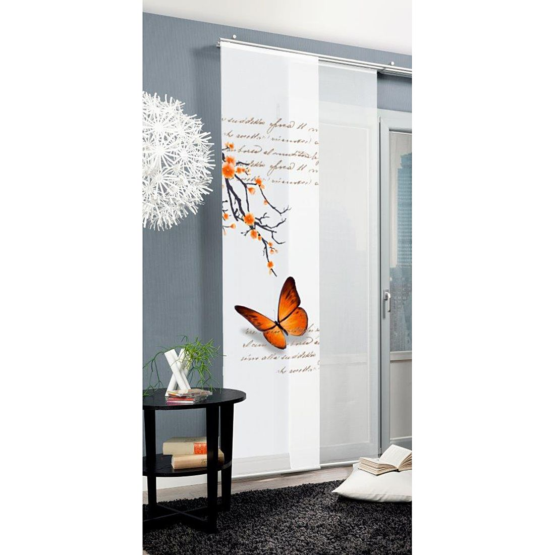 Schiebevorhang butterfly orange home wohnideen g nstig for Wohnideen gunstig