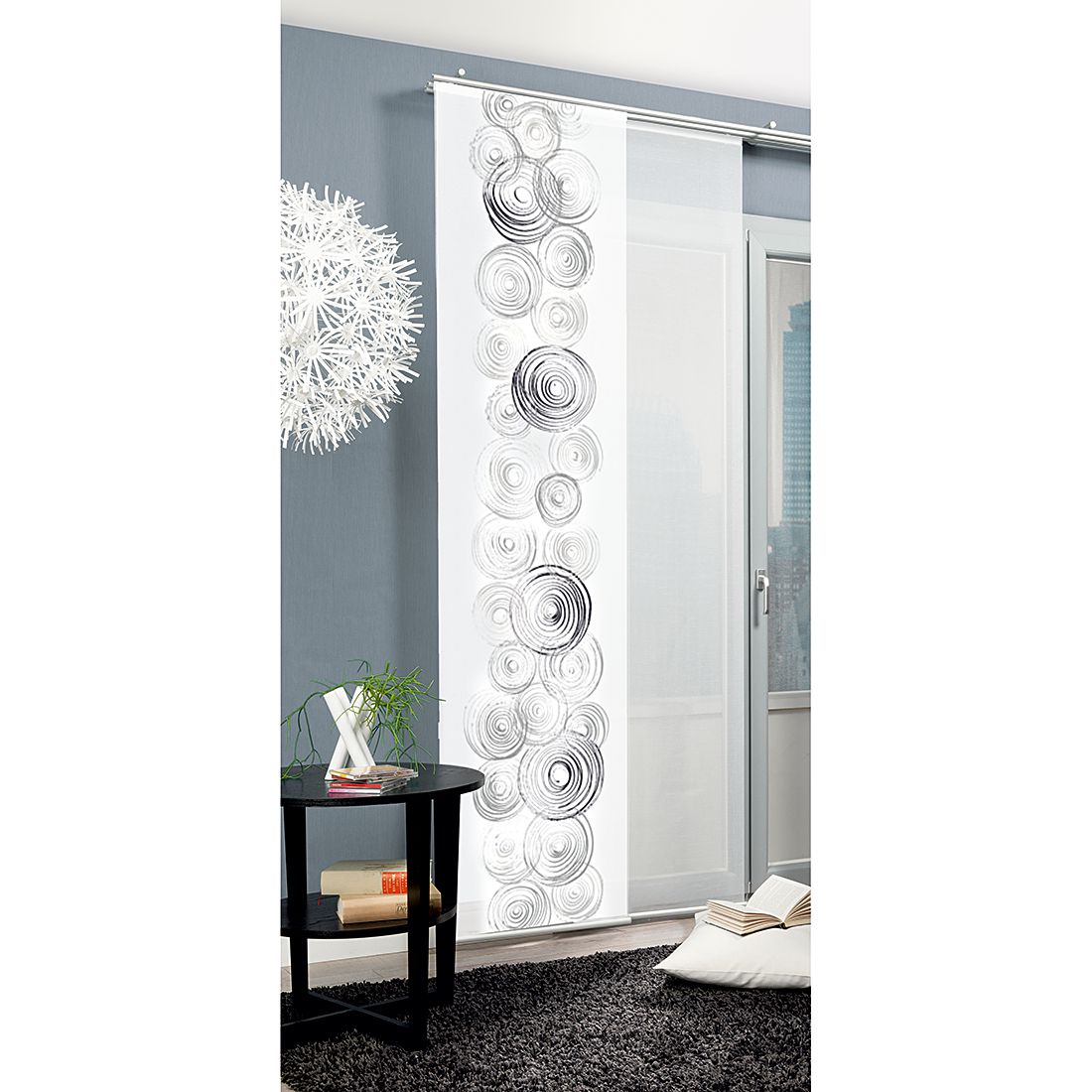 Schiebevorhang Circles – Schwarz/Weiß, Home Wohnideen günstig online kaufen