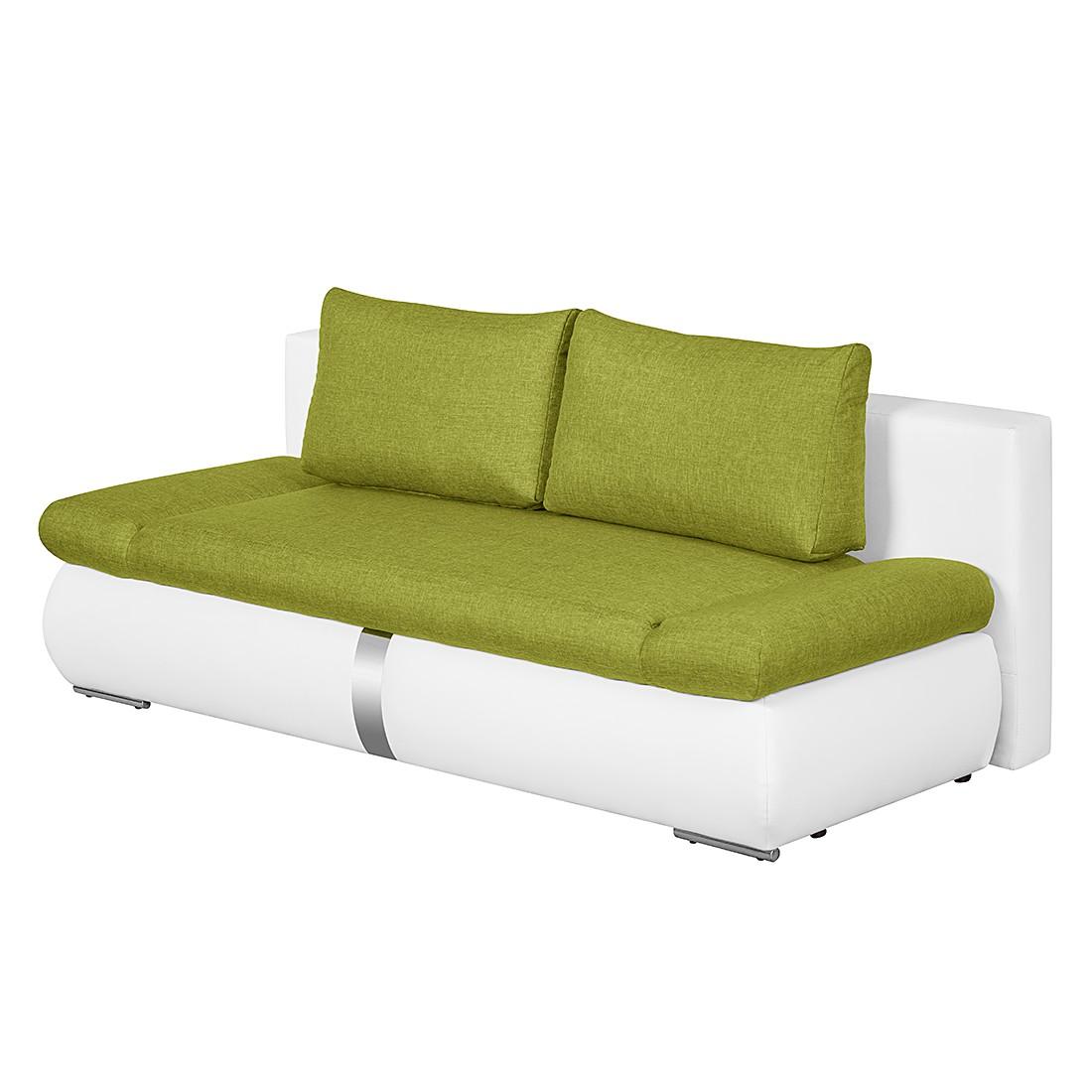 Schlafsofa Girard I mit Chromleiste – Kunstleder/Webstoff – Weiß / Grün, roomscape jetzt bestellen