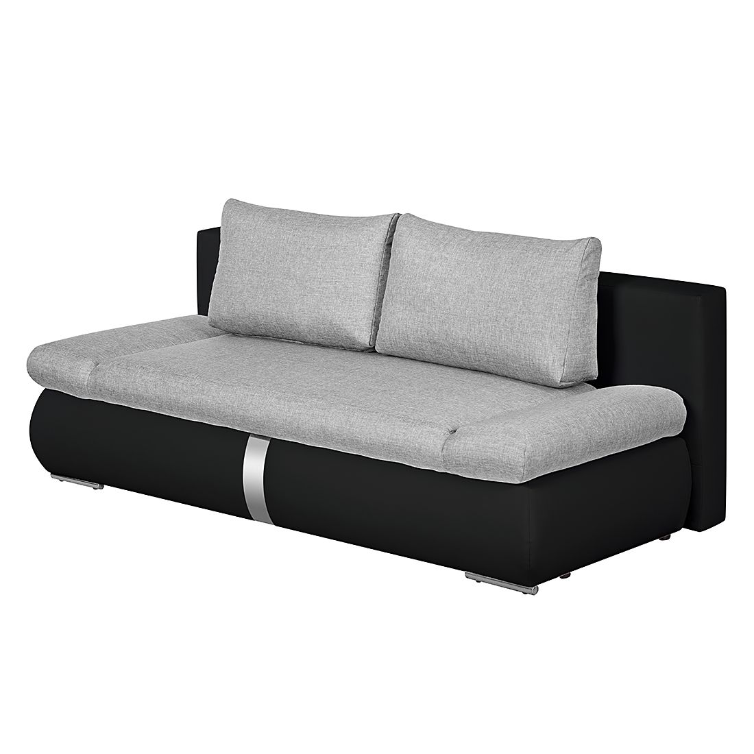 schlafsofa girard ii mit chromleiste kunstleder webstoff schwarz grau roomscape jetzt kaufen. Black Bedroom Furniture Sets. Home Design Ideas