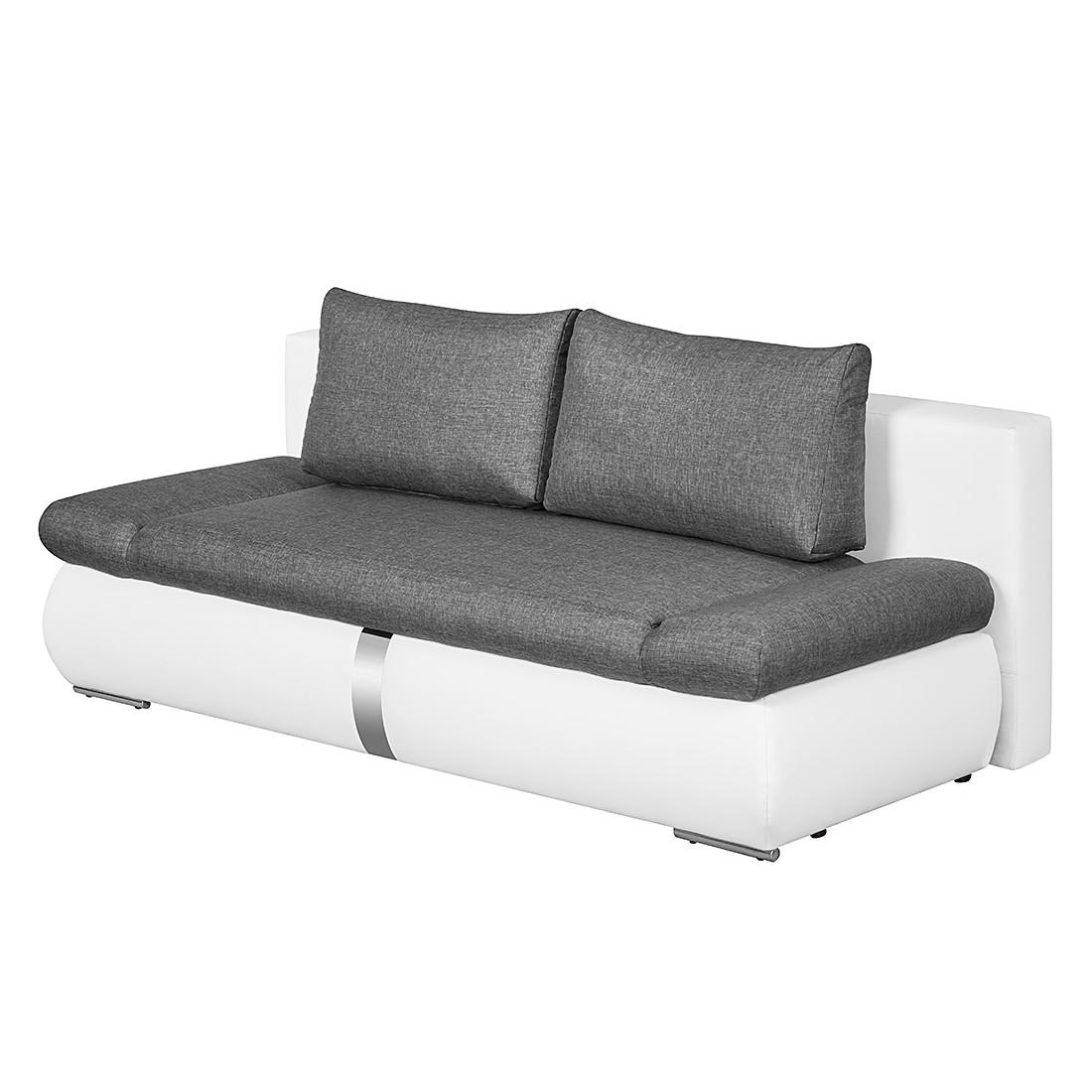 Schlafsofa Girard II mit Chromleiste – Kunstleder/Webstoff – Weiß / Dunkelgrau, roomscape jetzt kaufen