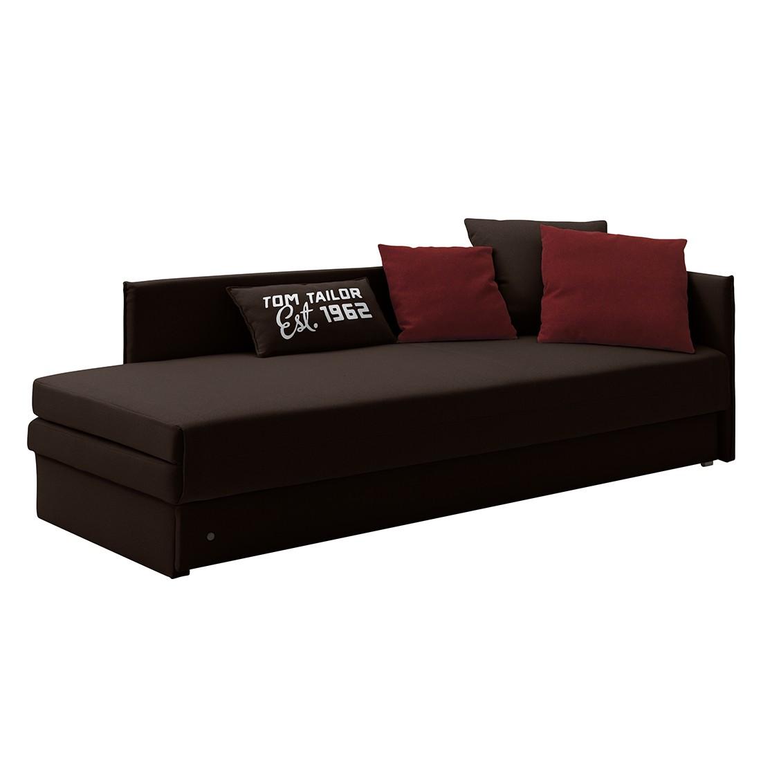 Schlafsofa Guest – Strukturstoff – Armlehne davorstehend rechts – Braun – 4 Kissen, Tom Tailor online bestellen