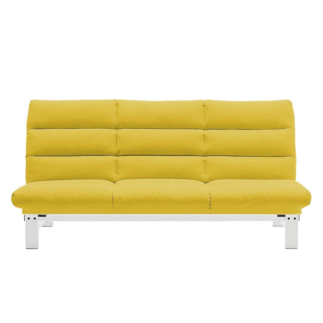 Schlafsofa Klack – Microfaser – Gelb / Weiß, Studio Monroe günstig online kaufen