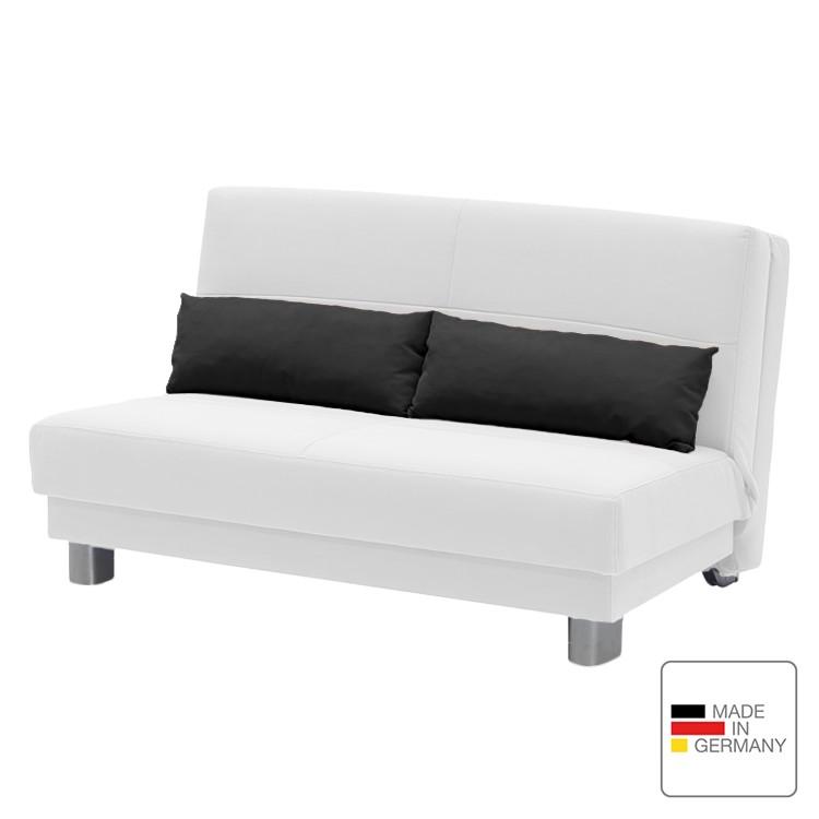 Schlafsofa Motard – Flachgewebe – Weiß / Schwarz – 140 cm, Studio Monroe kaufen