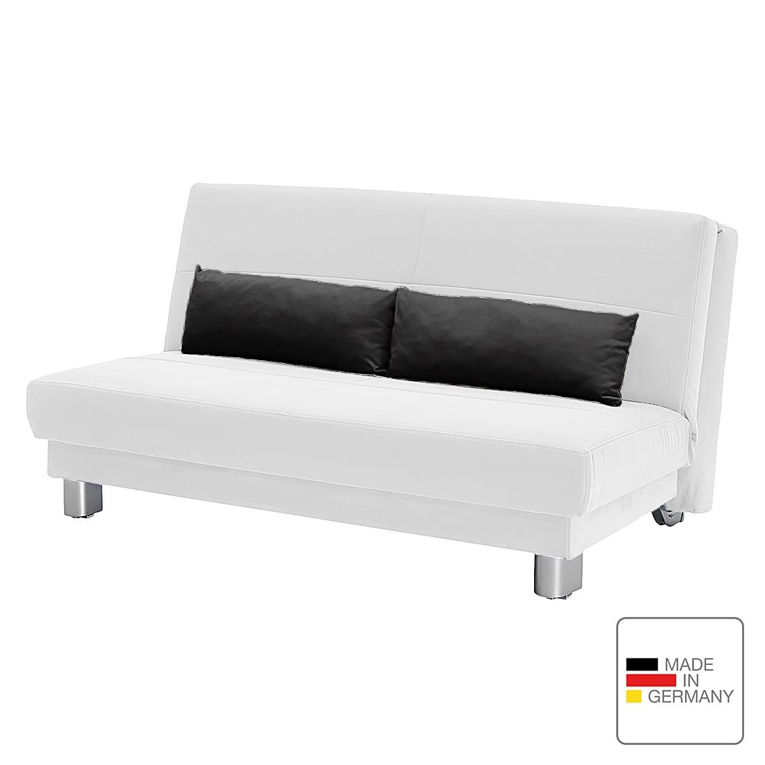 Schlafsofa Motard – Flachgewebe – Weiß / Schwarz – 158 cm, Studio Monroe günstig