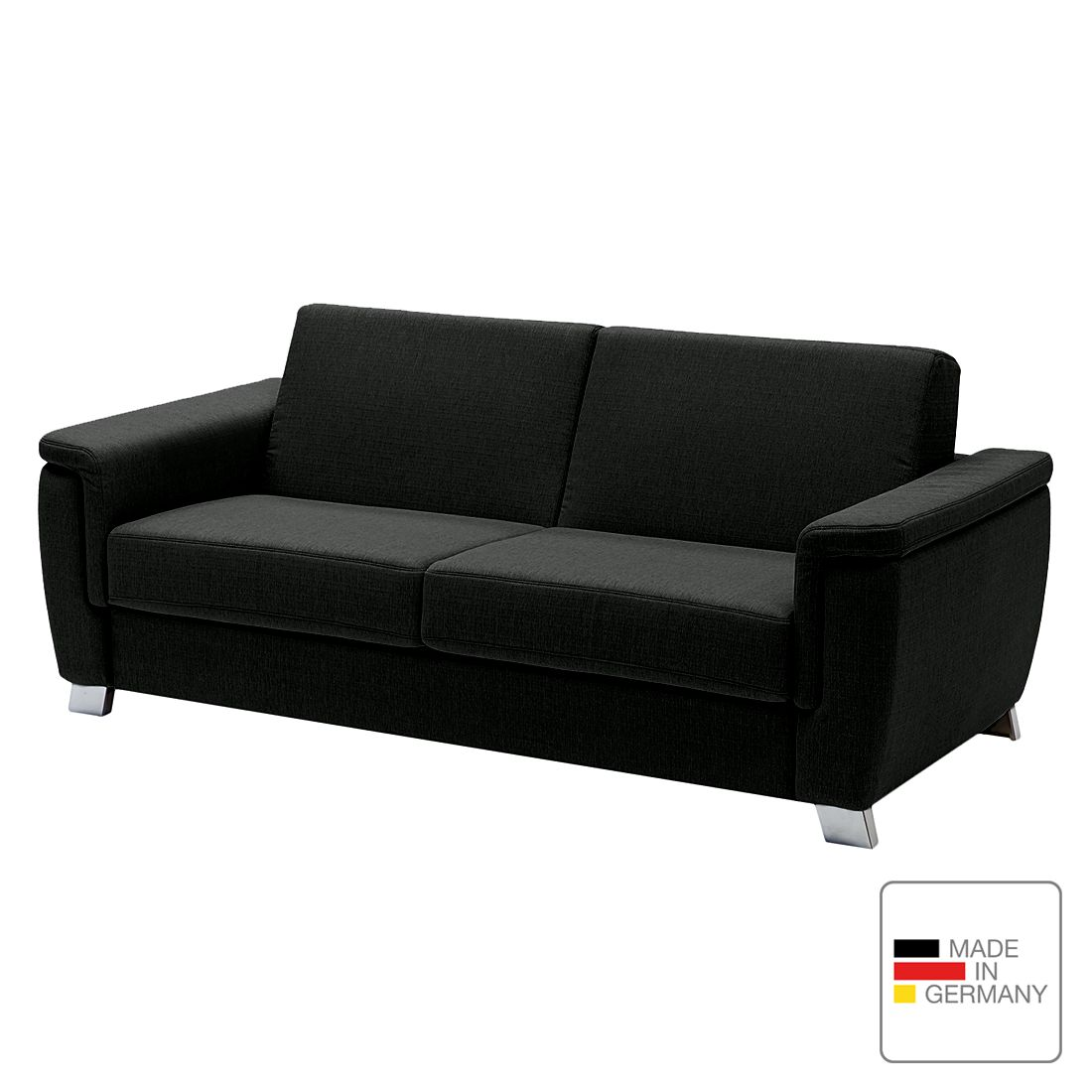 schlafsofa pidaro ii webstoff kaltschaum schwarz abgerundete armlehnen studio monroe. Black Bedroom Furniture Sets. Home Design Ideas