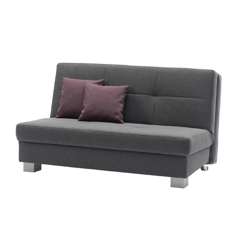 Schlafsofa Senora – Grau – Brombeerfarbene Kissen – Breite: 155 cm, TopDesign günstig bestellen