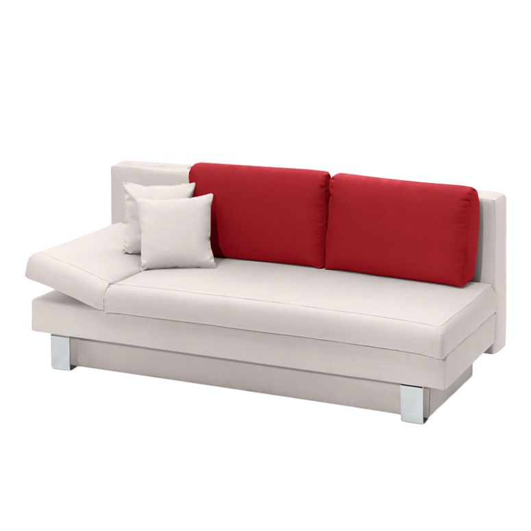schlafsofa lance microfaser beige rot armlehnfunktion links studio monroe g nstig online kaufen. Black Bedroom Furniture Sets. Home Design Ideas