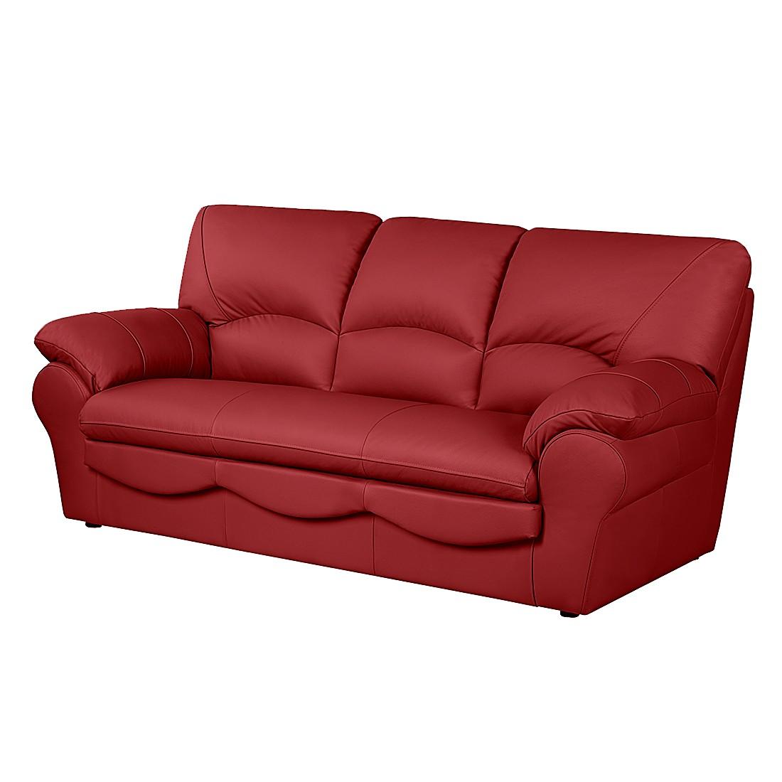 Schlafsofa Torsby - Echtleder Rot, Nuovoform
