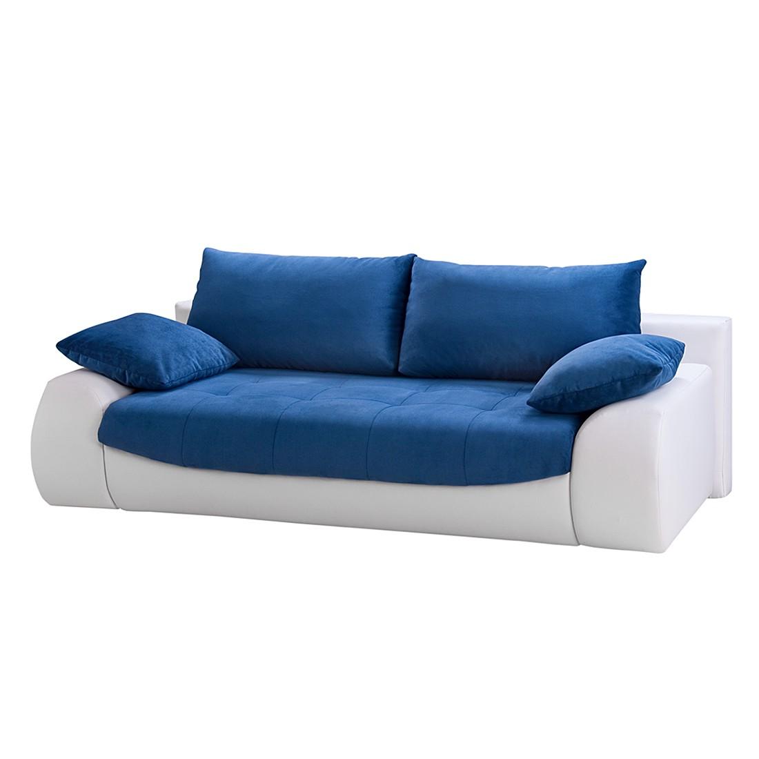 Schlafsofa Wolke – Kunstleder Weiß/Webstoff Blau, loftscape jetzt bestellen