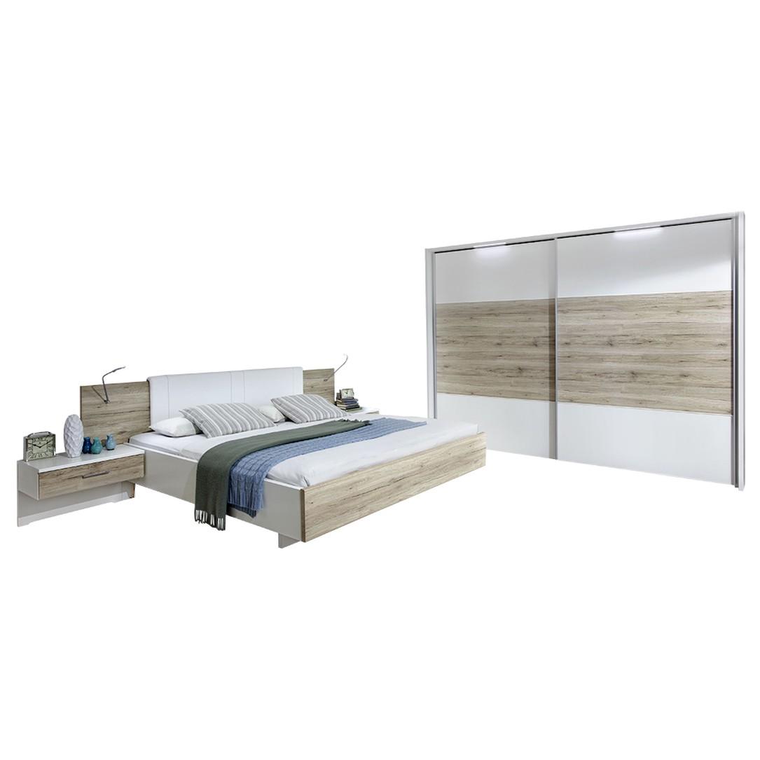 Schlafzimmer Arizona – Alpinweiß/Santana-Eiche-Nachbildung – 89 cm x 208 cm x 249 cm, Althoff günstig kaufen